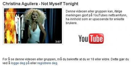 "Musikkvideo med 18 års grense: Aguileras ""Not myself tonight"""